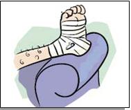 Cartoon bandaged compressed leg