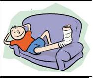 Cartoon elevated bandaged compressed leg